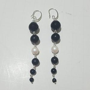 Sterling Silver Black Onyx & Swarovski Pearl Earri